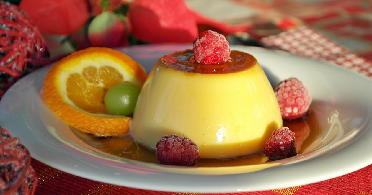 Mango flan as one of the low carb dessert recipes