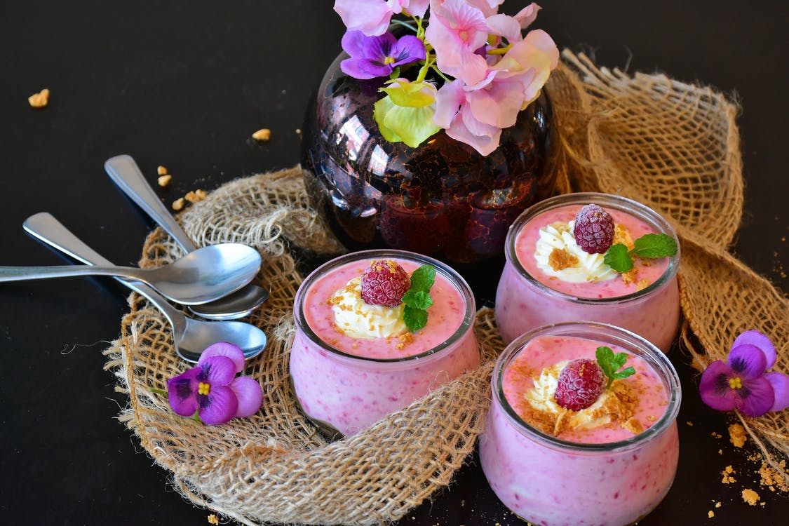 Raspberry mousse dessert as one of the low calorie dessert recipes.