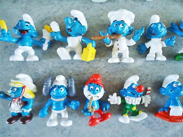 The Smurfs figures. The inspiration for the smurfs pie.
